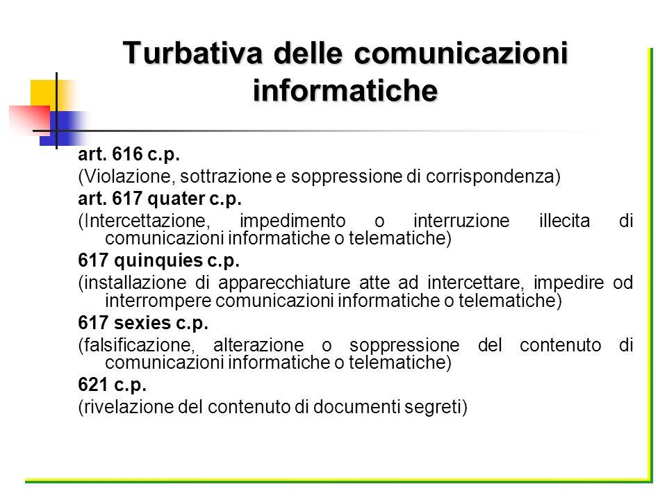 Turbativa delle comunicazioni informatiche