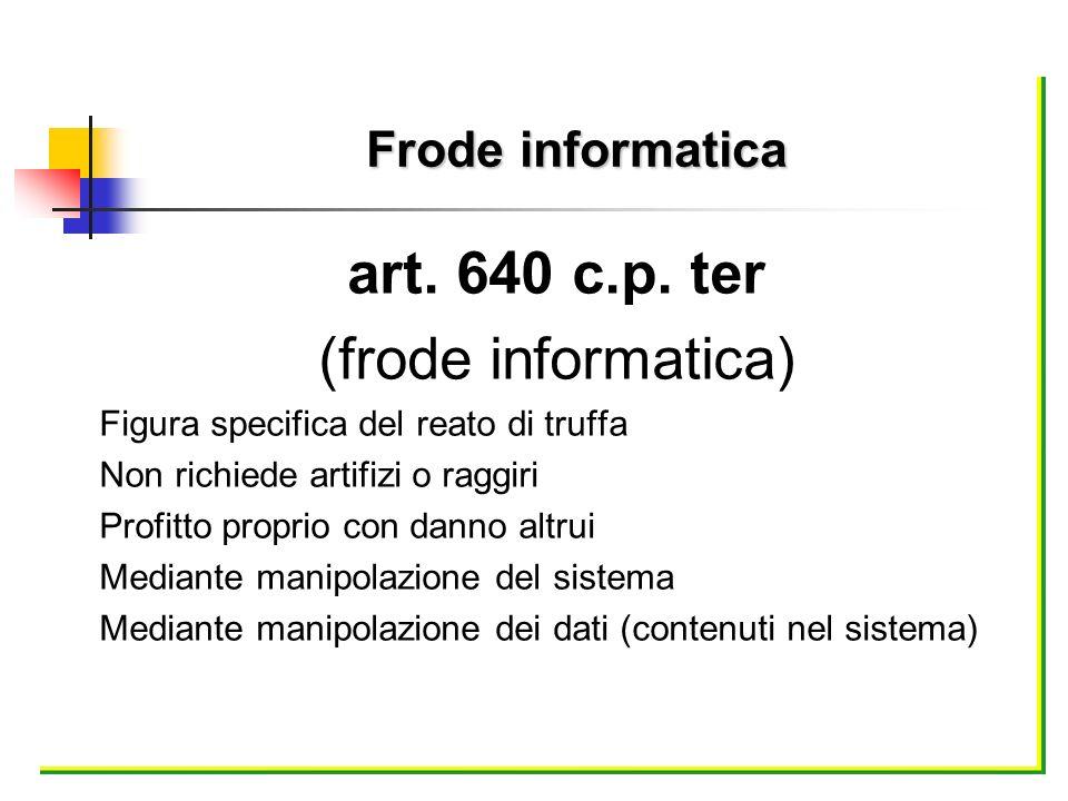 art. 640 c.p. ter (frode informatica) Frode informatica