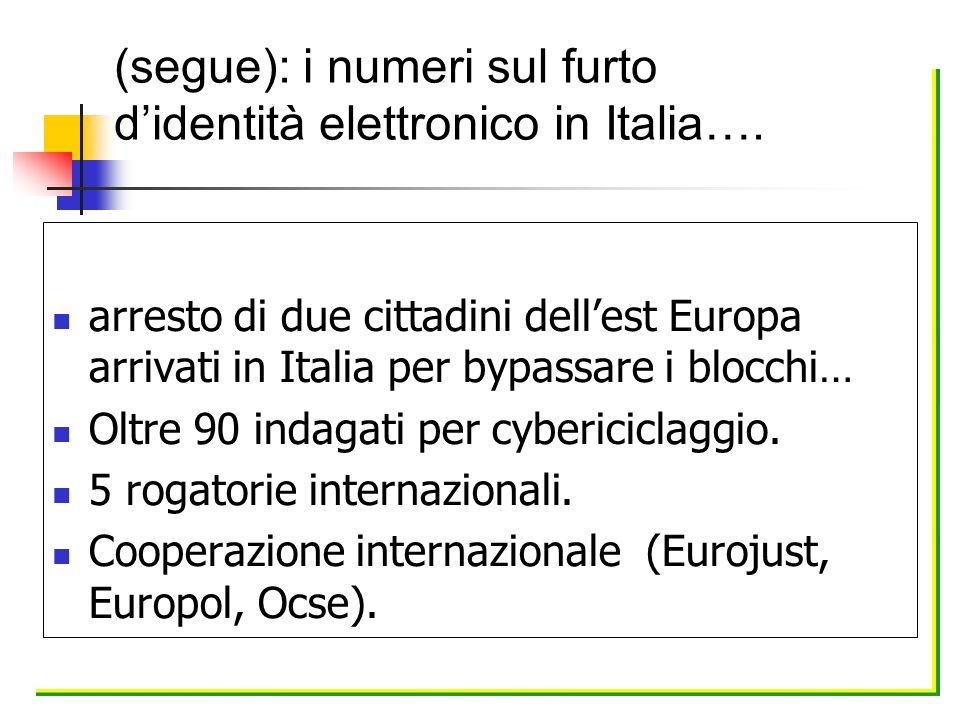 (segue): i numeri sul furto d'identità elettronico in Italia….