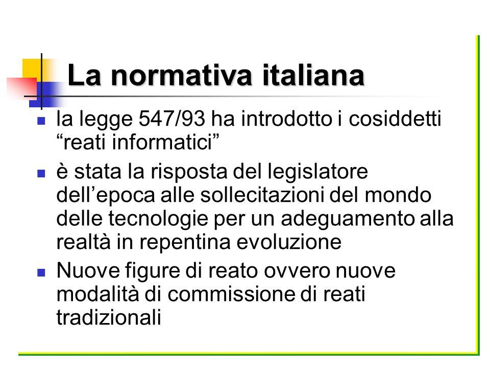 La normativa italiana la legge 547/93 ha introdotto i cosiddetti reati informatici