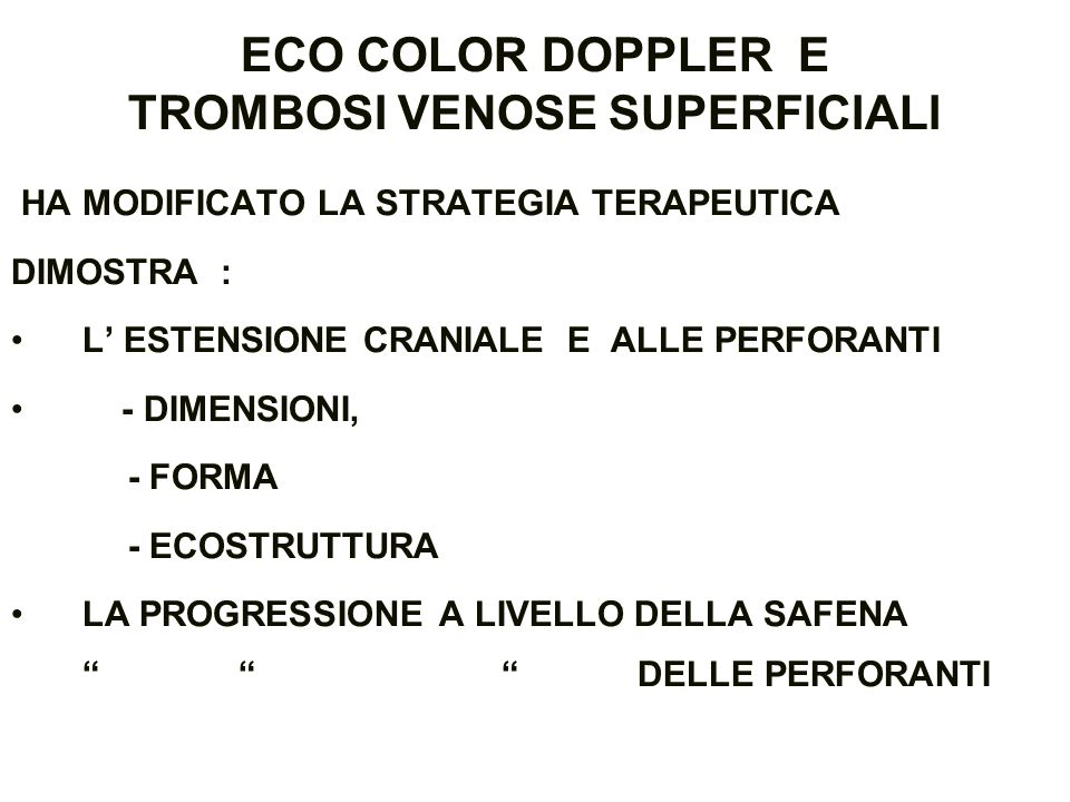 ECO COLOR DOPPLER E TROMBOSI VENOSE SUPERFICIALI