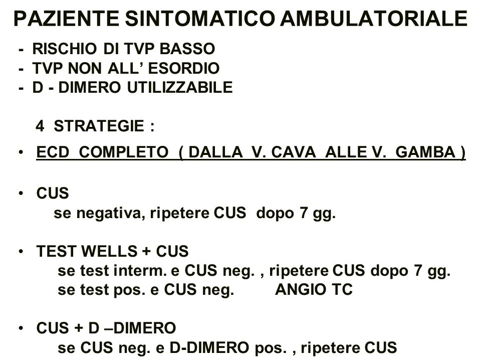 PAZIENTE SINTOMATICO AMBULATORIALE