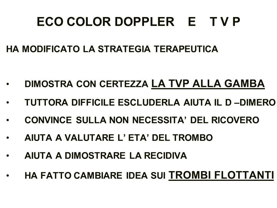 ECO COLOR DOPPLER E T V P HA MODIFICATO LA STRATEGIA TERAPEUTICA
