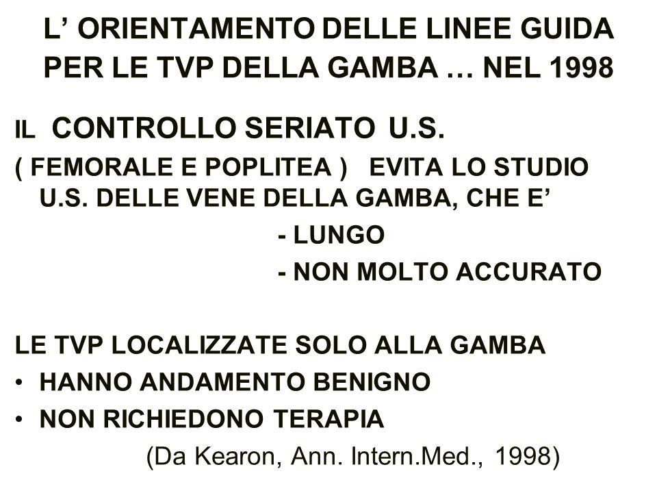 L' ORIENTAMENTO DELLE LINEE GUIDA PER LE TVP DELLA GAMBA … NEL 1998