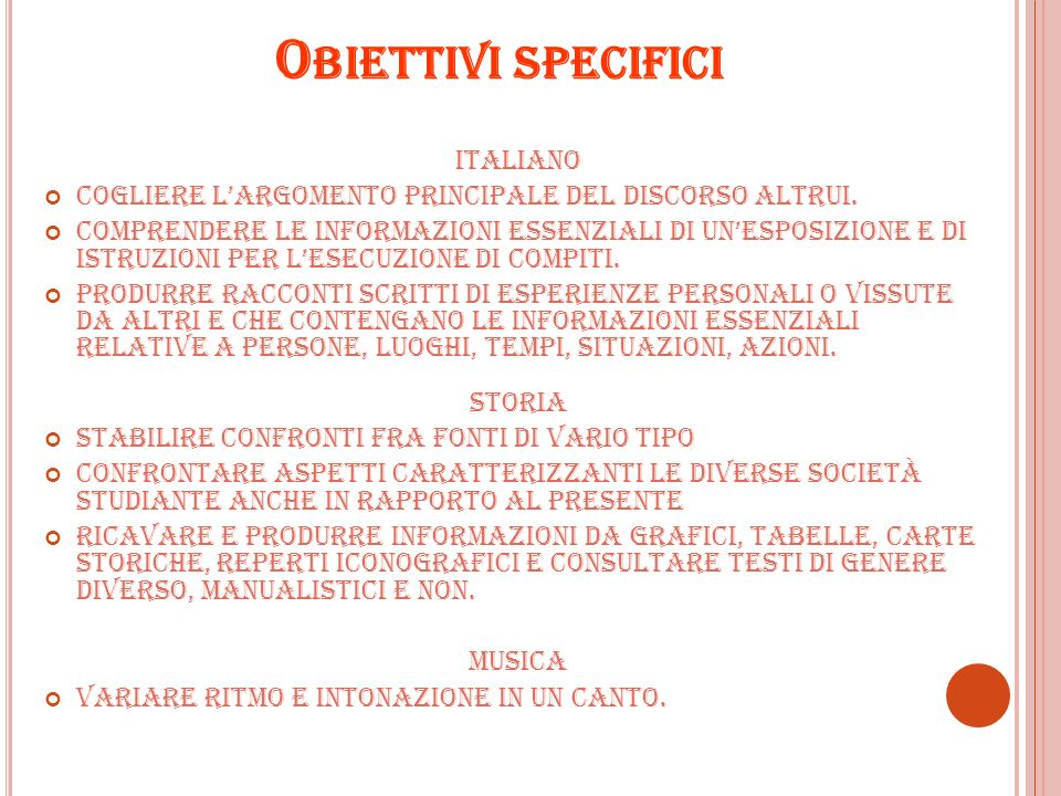 Obiettivi specifici ITALIANO