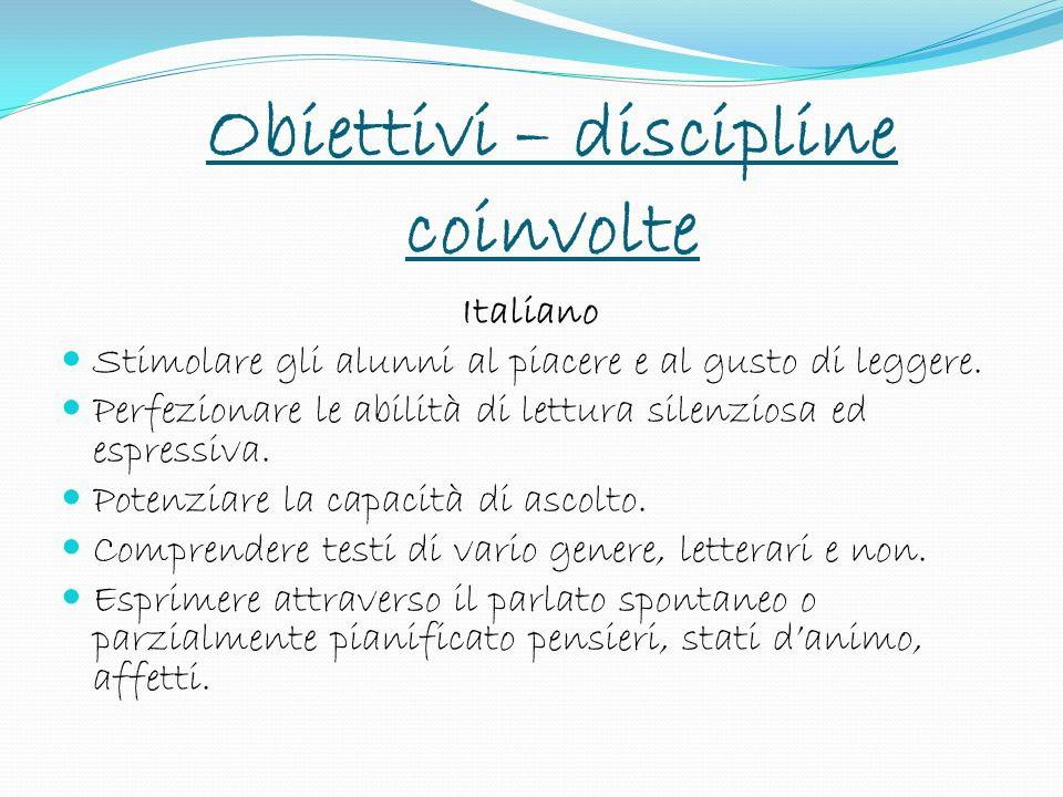 Obiettivi – discipline coinvolte
