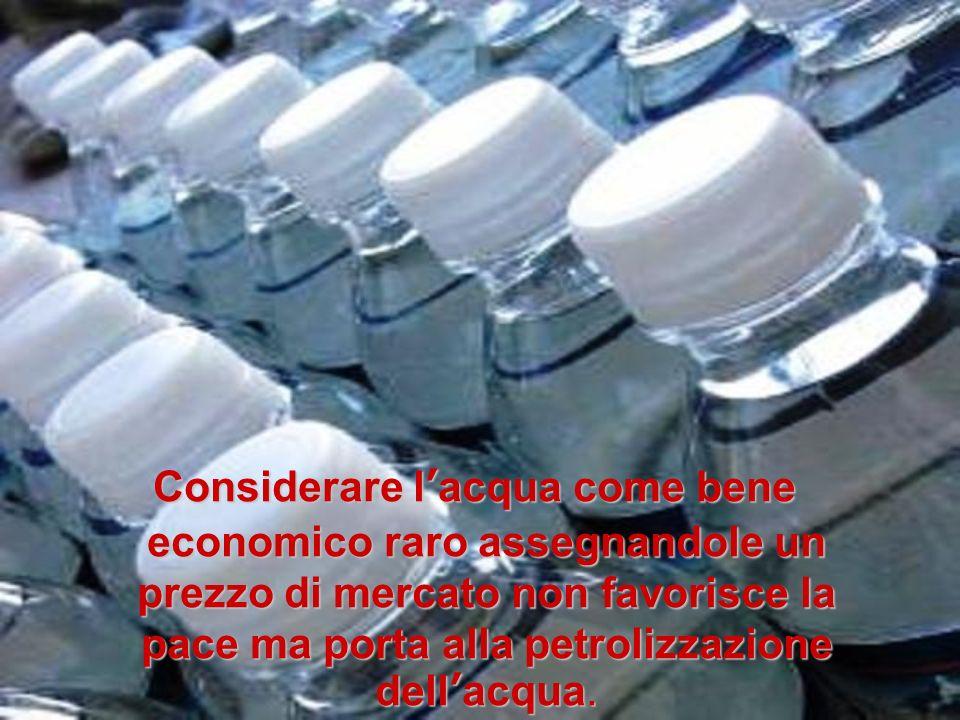 Considerare l'acqua come bene economico raro assegnandole un prezzo di mercato non favorisce la pace ma porta alla petrolizzazione dell'acqua.