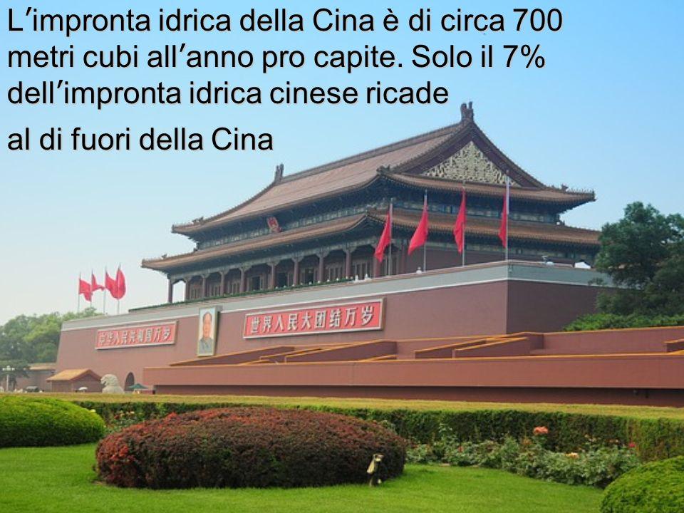 L'impronta idrica della Cina è di circa 700 metri cubi all'anno pro capite. Solo il 7% dell'impronta idrica cinese ricade