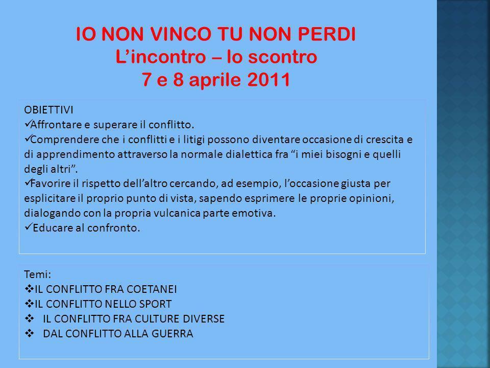 IO NON VINCO TU NON PERDI L'incontro – lo scontro 7 e 8 aprile 2011