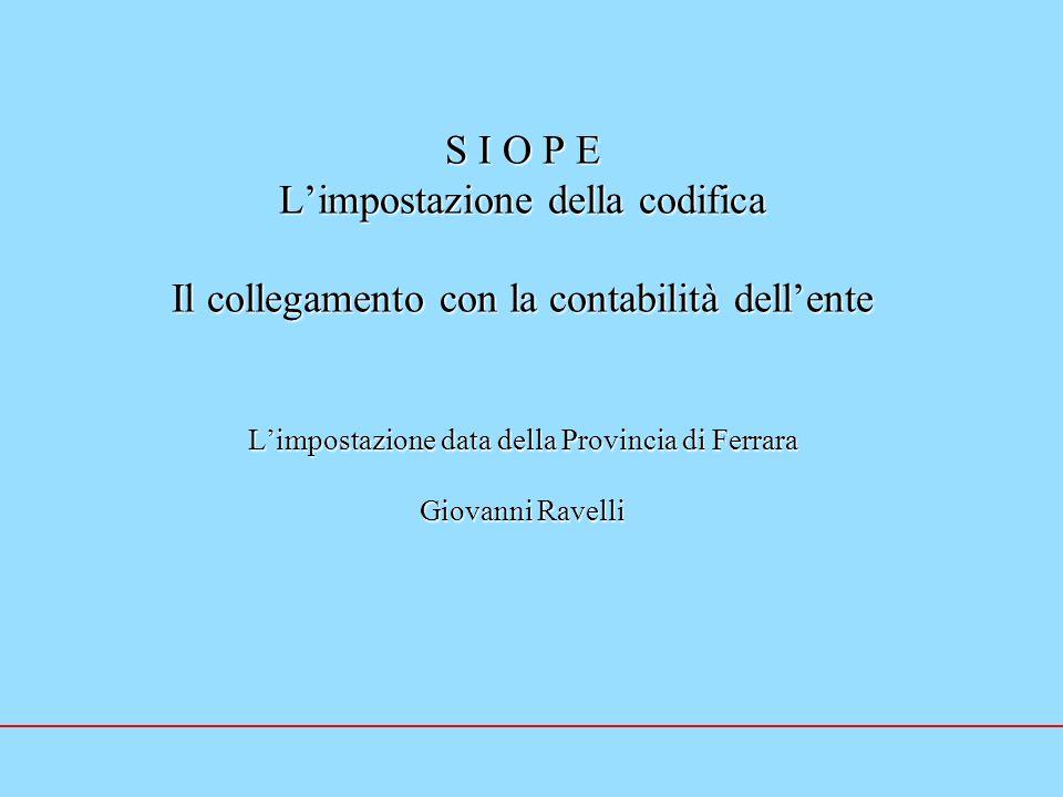 S I O P E L'impostazione della codifica Il collegamento con la contabilità dell'ente L'impostazione data della Provincia di Ferrara Giovanni Ravelli