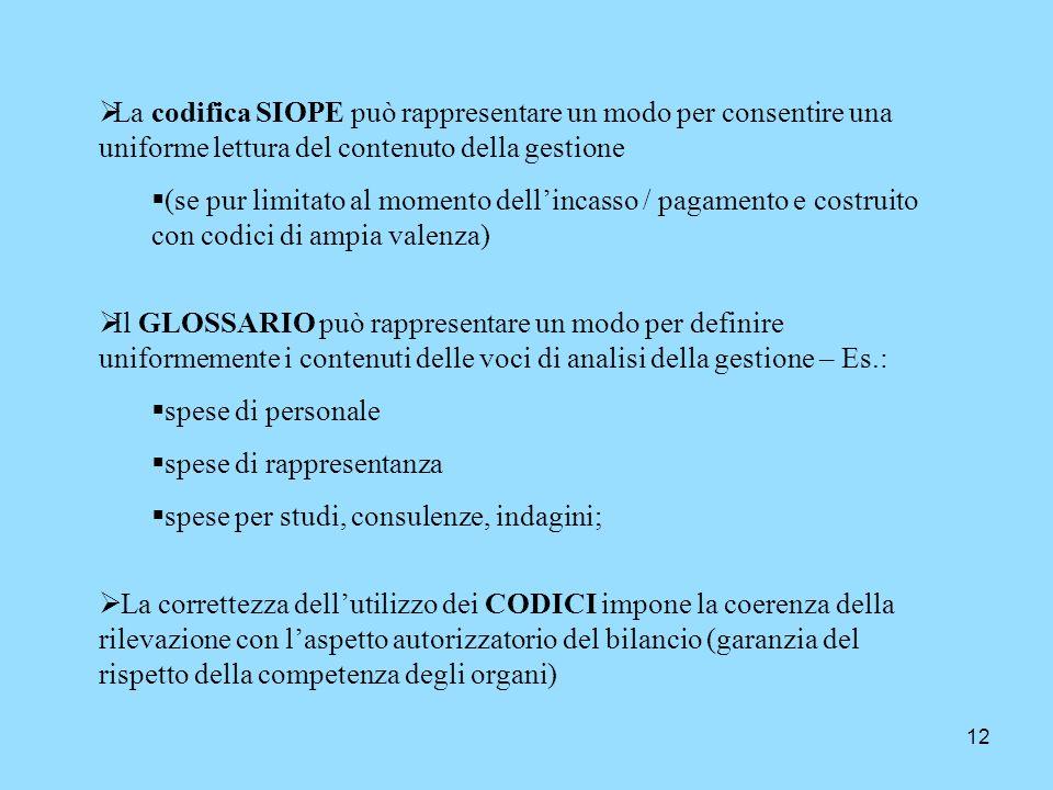 La codifica SIOPE può rappresentare un modo per consentire una uniforme lettura del contenuto della gestione