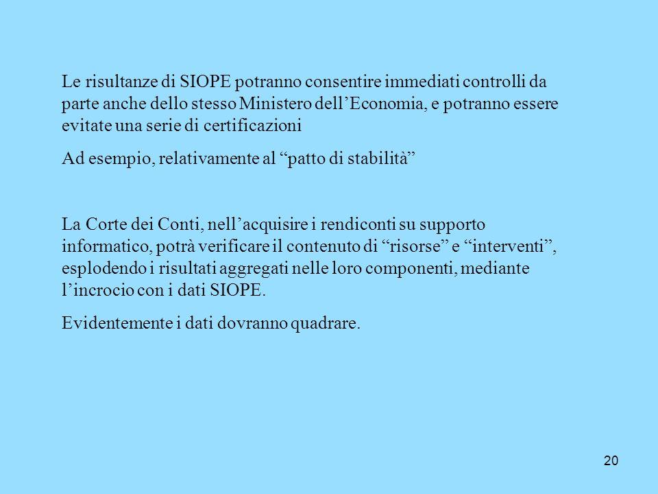 Le risultanze di SIOPE potranno consentire immediati controlli da parte anche dello stesso Ministero dell'Economia, e potranno essere evitate una serie di certificazioni