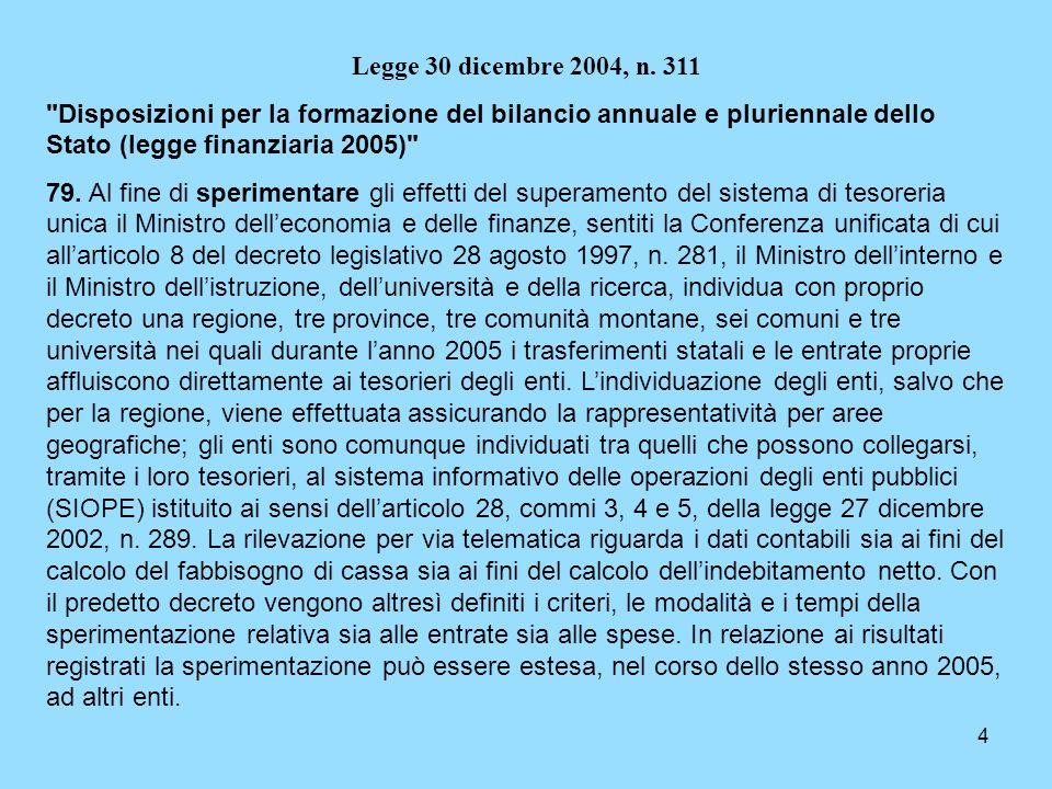 Legge 30 dicembre 2004, n. 311 Disposizioni per la formazione del bilancio annuale e pluriennale dello Stato (legge finanziaria 2005)