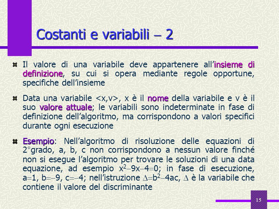 Costanti e variabili  2