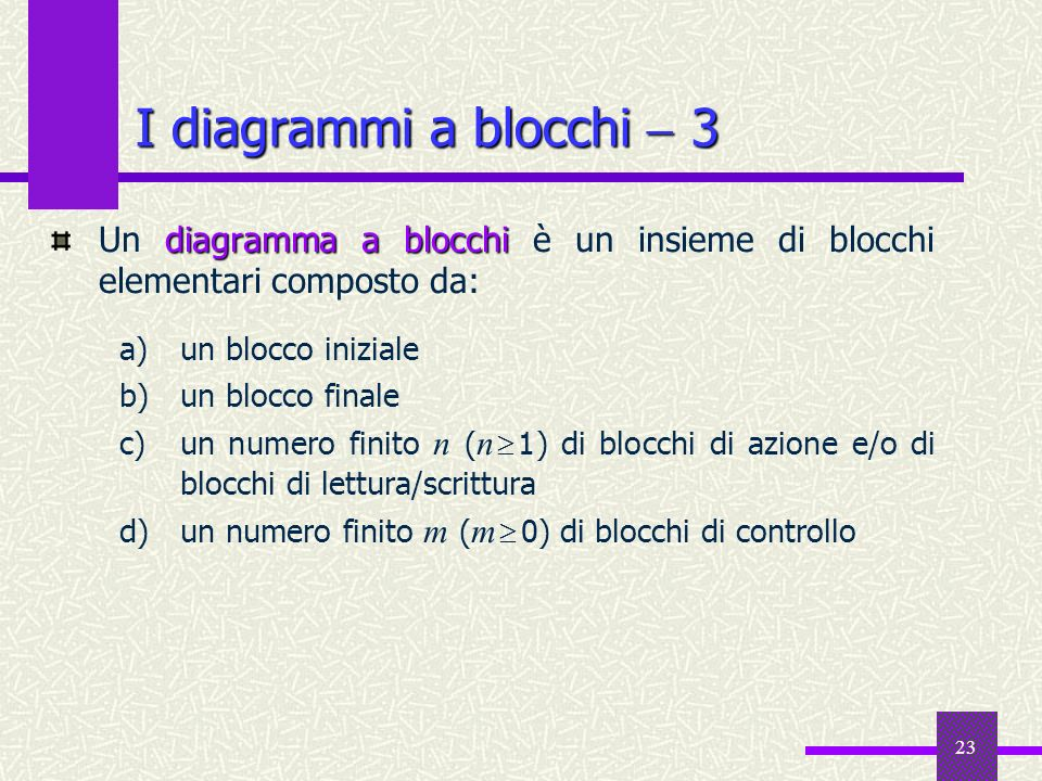 I diagrammi a blocchi  3Un diagramma a blocchi è un insieme di blocchi elementari composto da: un blocco iniziale.