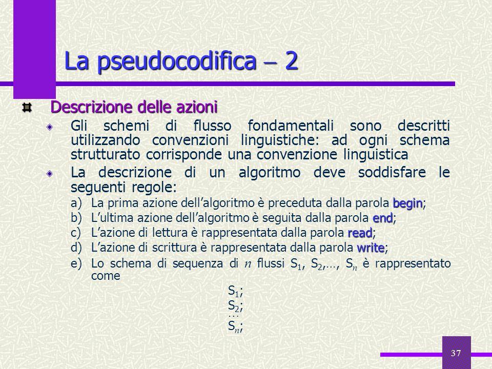 La pseudocodifica  2 Descrizione delle azioni