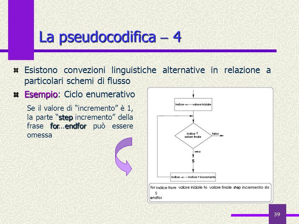 La pseudocodifica  4Esistono convezioni linguistiche alternative in relazione a particolari schemi di flusso.