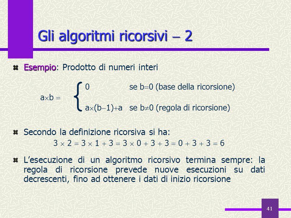 Gli algoritmi ricorsivi  2