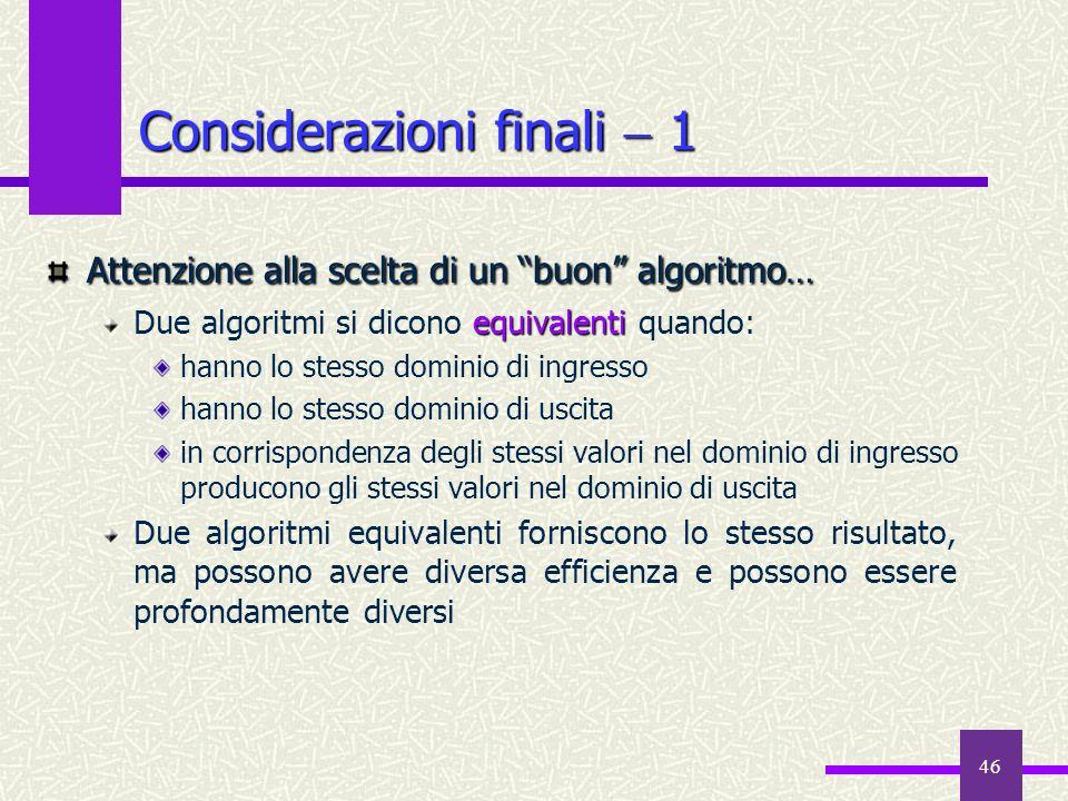 Considerazioni finali  1