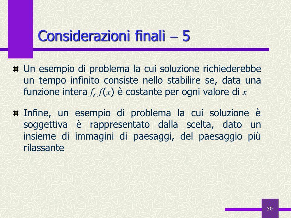 Considerazioni finali  5