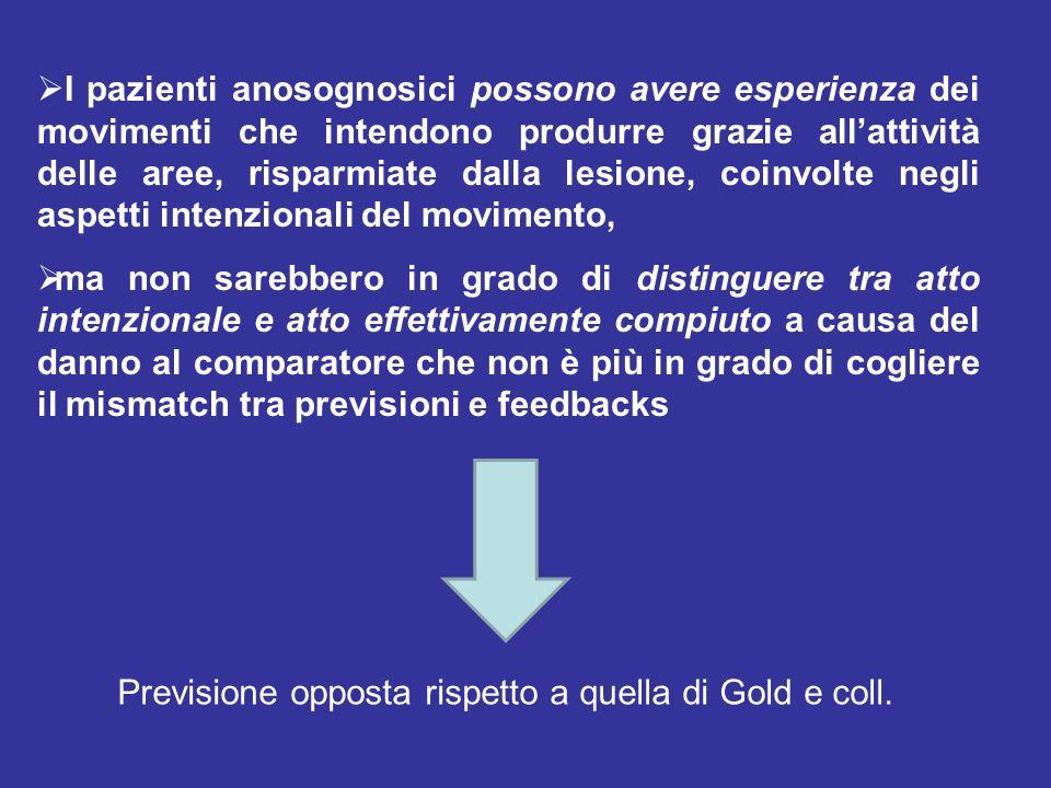 I pazienti anosognosici possono avere esperienza dei movimenti che intendono produrre grazie all'attività delle aree, risparmiate dalla lesione, coinvolte negli aspetti intenzionali del movimento,