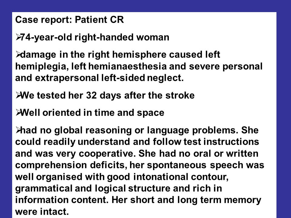 Case report: Patient CR