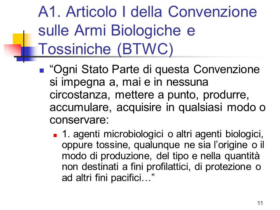 A1. Articolo I della Convenzione sulle Armi Biologiche e Tossiniche (BTWC)
