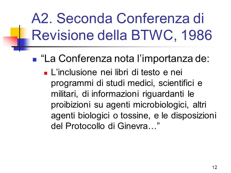 A2. Seconda Conferenza di Revisione della BTWC, 1986