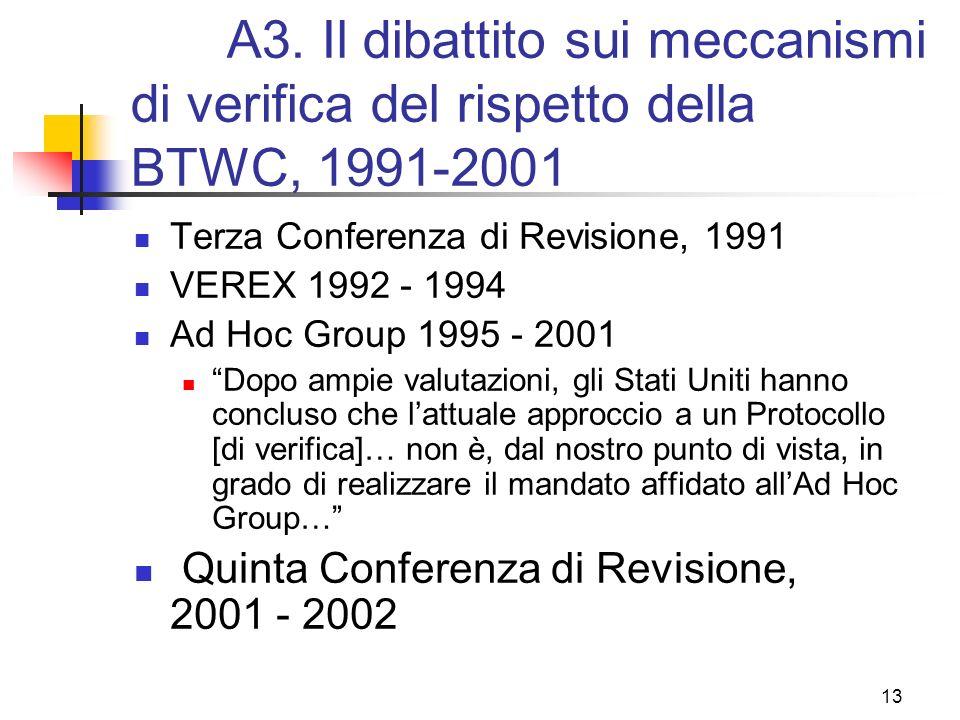 A3. Il dibattito sui meccanismi di verifica del rispetto della BTWC, 1991-2001