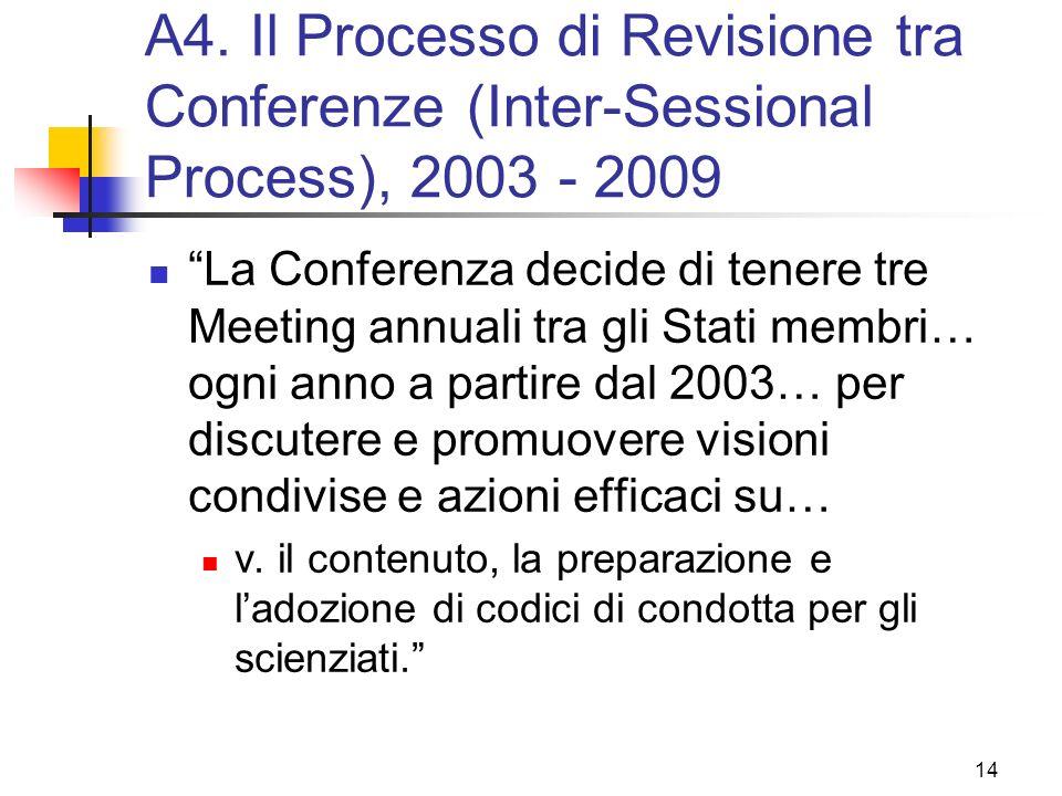 A4. Il Processo di Revisione tra Conferenze (Inter-Sessional Process), 2003 - 2009