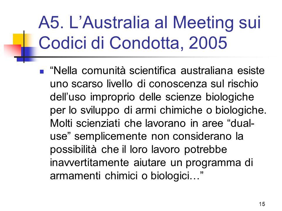 A5. L'Australia al Meeting sui Codici di Condotta, 2005