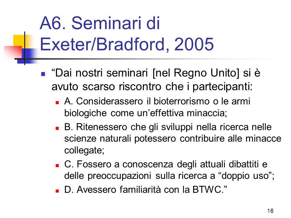 A6. Seminari di Exeter/Bradford, 2005