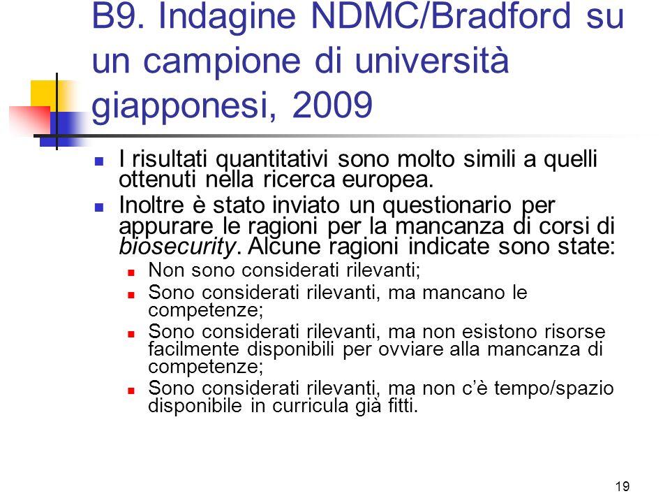 B9. Indagine NDMC/Bradford su un campione di università giapponesi, 2009