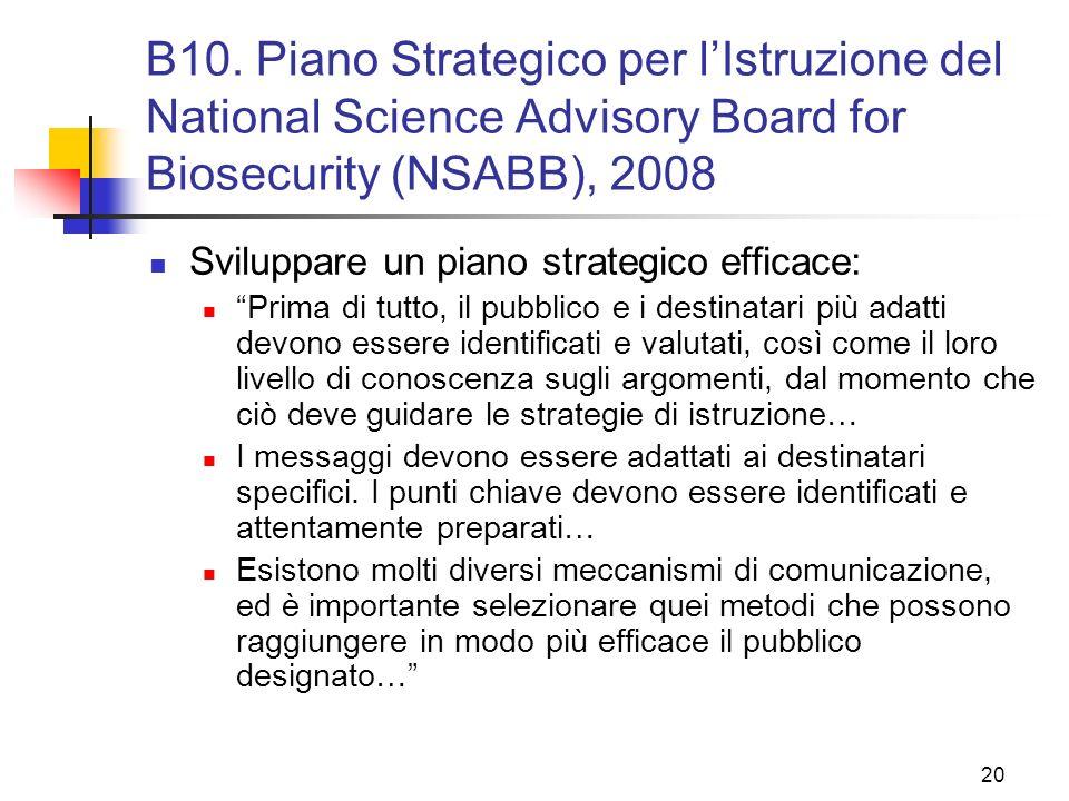 B10. Piano Strategico per l'Istruzione del National Science Advisory Board for Biosecurity (NSABB), 2008