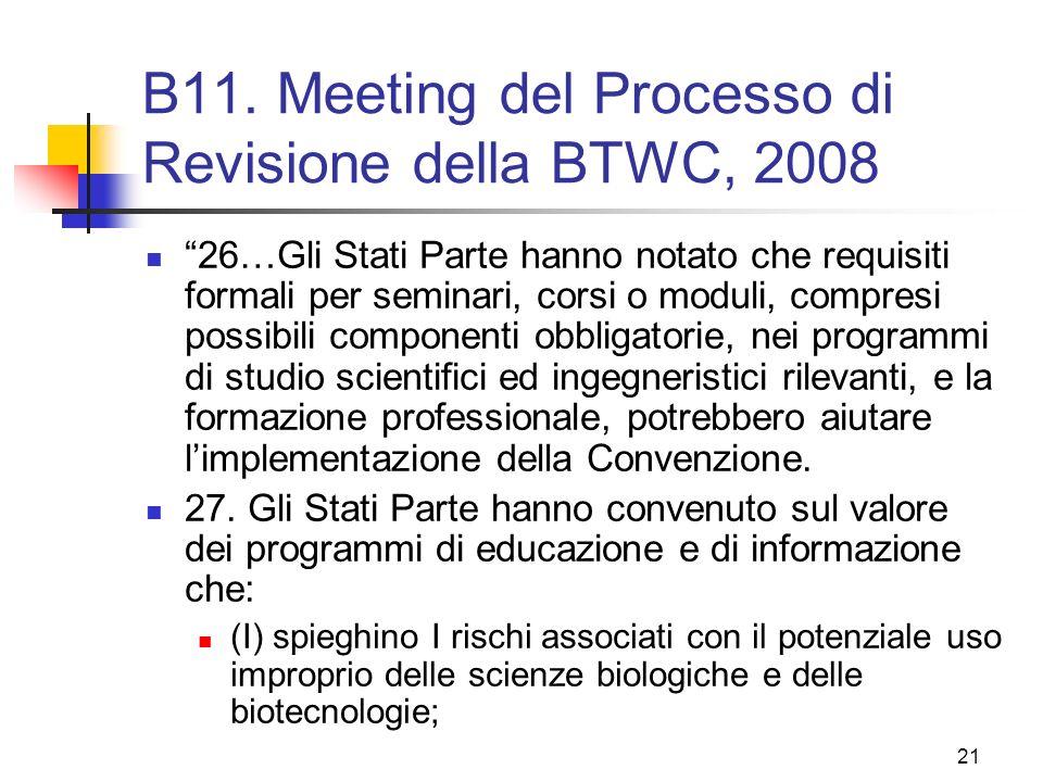 B11. Meeting del Processo di Revisione della BTWC, 2008