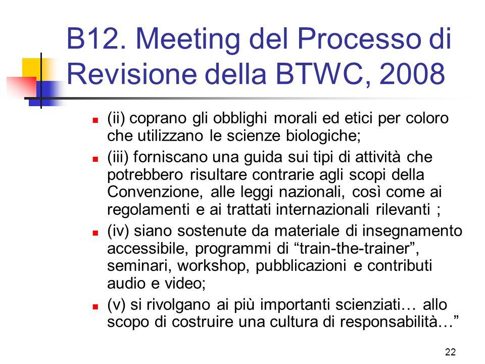 B12. Meeting del Processo di Revisione della BTWC, 2008