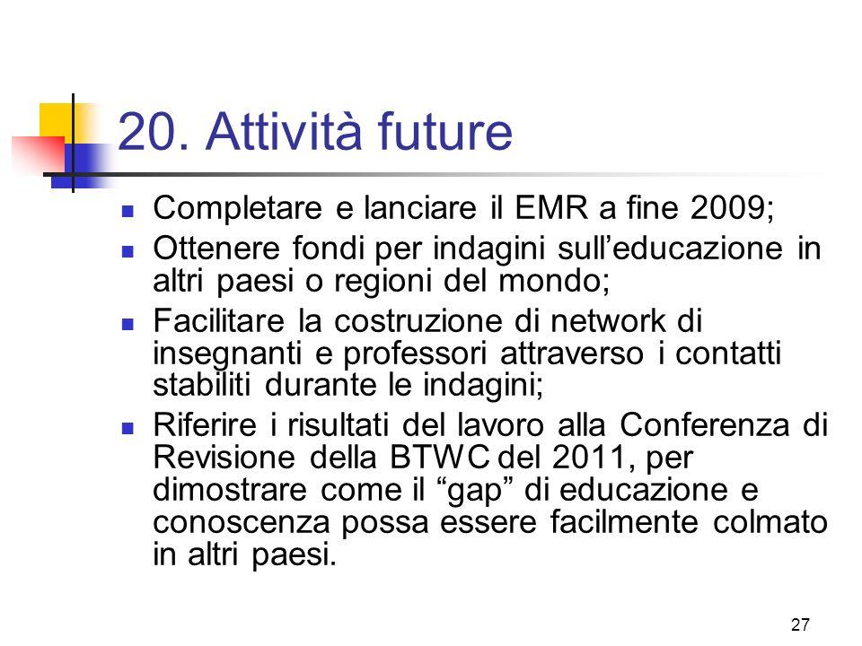 20. Attività future Completare e lanciare il EMR a fine 2009;