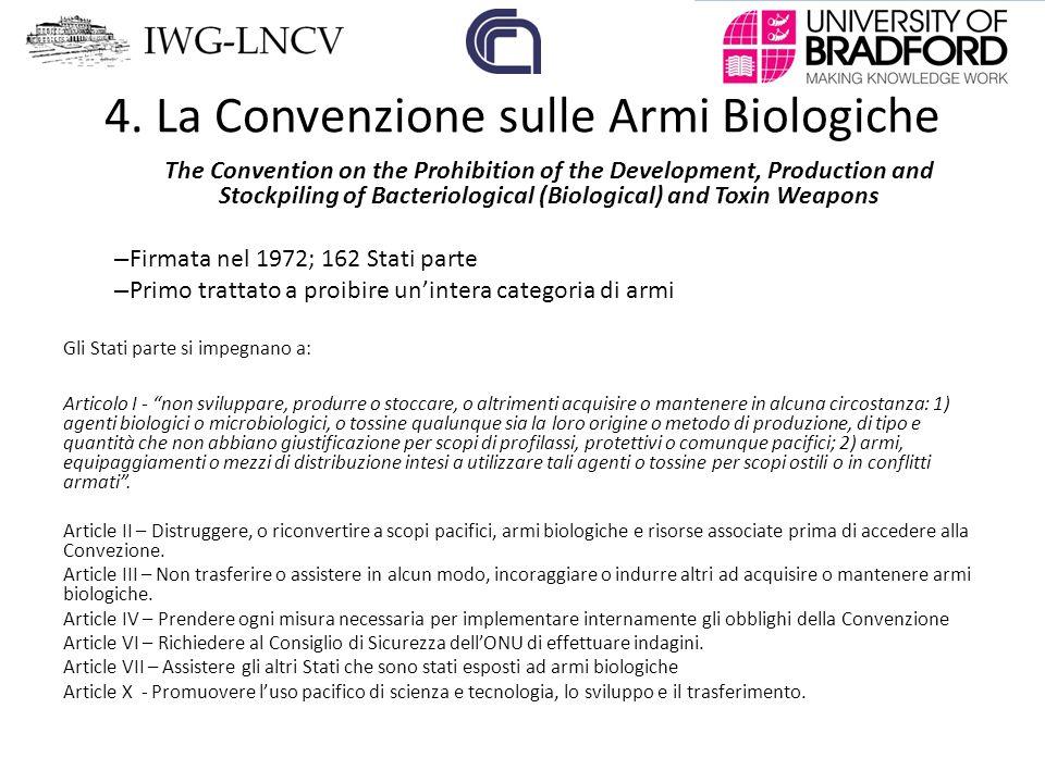 4. La Convenzione sulle Armi Biologiche