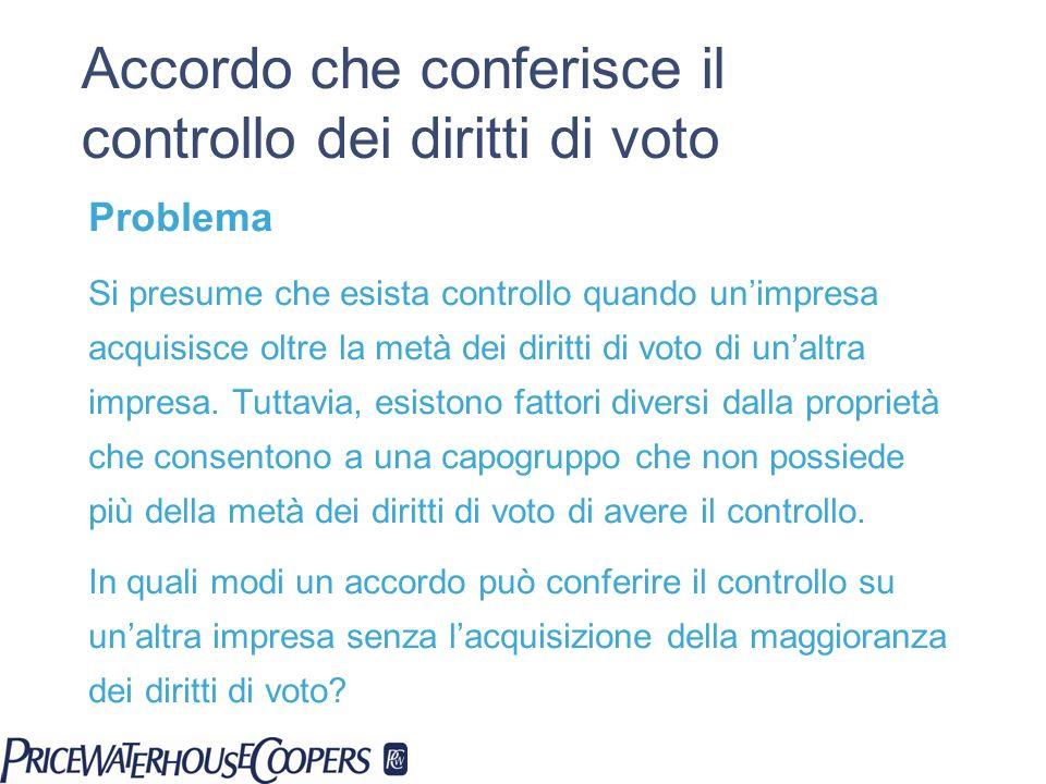 Accordo che conferisce il controllo dei diritti di voto