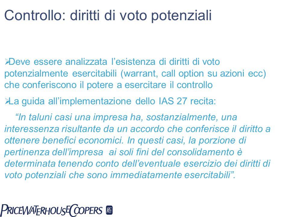 Controllo: diritti di voto potenziali