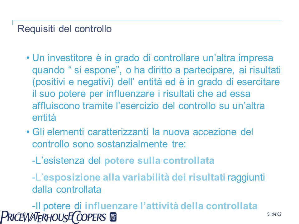 Requisiti del controllo