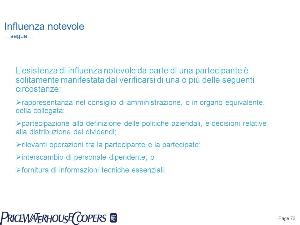 Influenza notevole …segue…