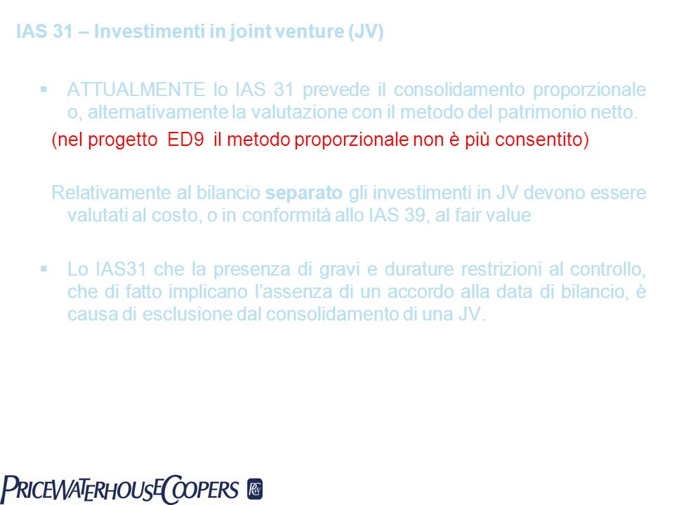 IAS 31 – Investimenti in joint venture (JV)
