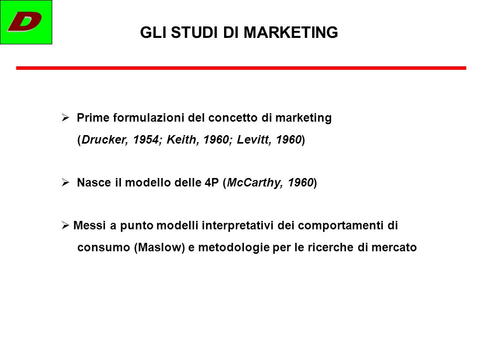 D GLI STUDI DI MARKETING Prime formulazioni del concetto di marketing