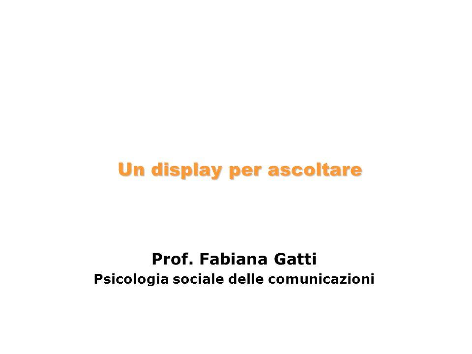 Prof. Fabiana Gatti Psicologia sociale delle comunicazioni