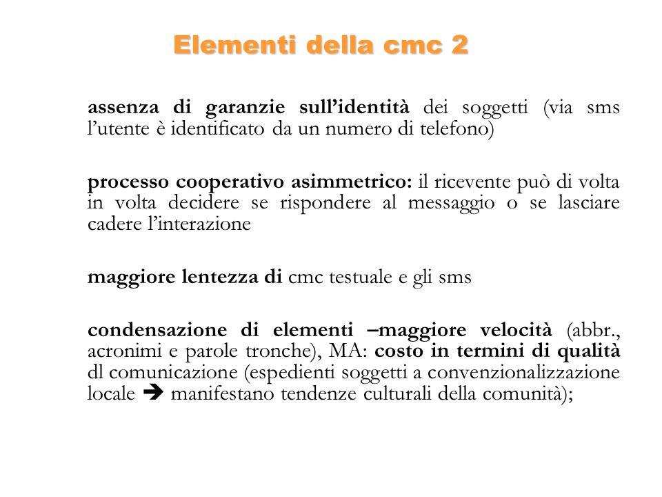 Elementi della cmc 2 assenza di garanzie sull'identità dei soggetti (via sms l'utente è identificato da un numero di telefono)