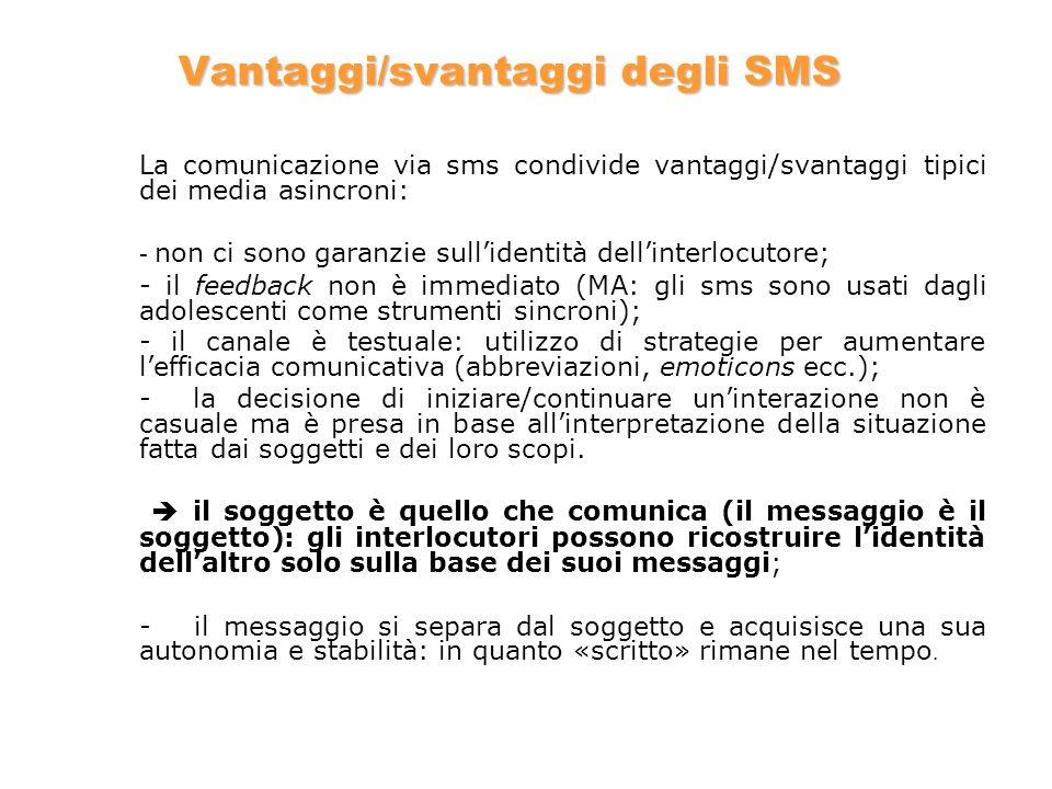 Vantaggi/svantaggi degli SMS