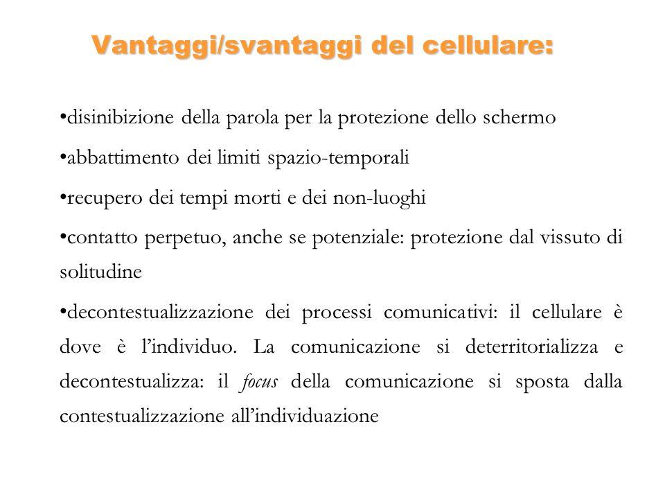 Vantaggi/svantaggi del cellulare: