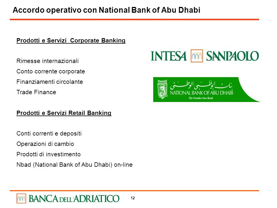 Accordo operativo con National Bank of Abu Dhabi