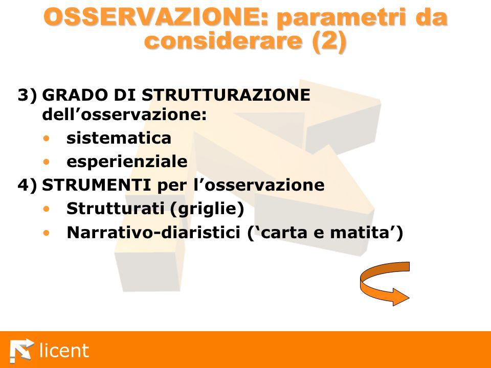 OSSERVAZIONE: parametri da considerare (2)
